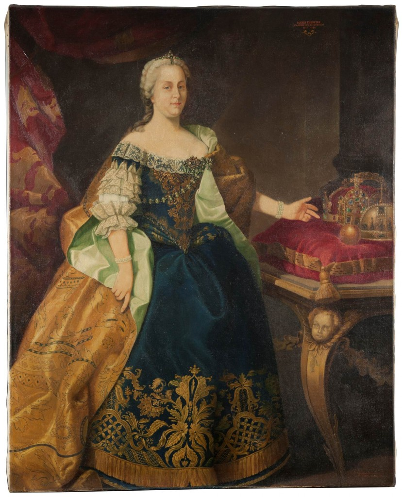 Copy of a portrait of Maria Theresa, commissioned by Dr. Stefan Schick to Otto Zeiller in 1963 for the Hotel Stefanie ballroom