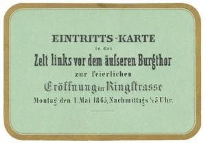 Opening invitation Ringstraße, 1865, © Wien Museum