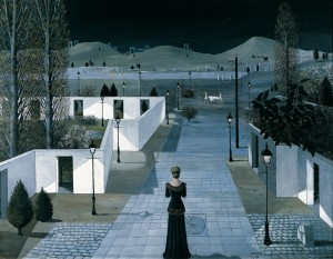 Paul Delvaux, Landschaft mit Laternen, 1958, Albertina, Wien - Sammlung Batliner