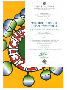 Austrian Ecolable certificate
